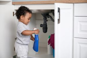 Little,African-american,Baby,Playing,With,Detergents,At,Home.,Child,In